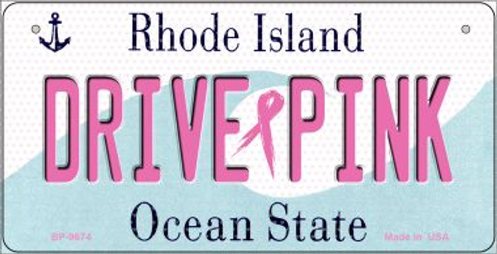 Drive Pink Rhode Island Novelty Metal Bicycle Plate BP-9674