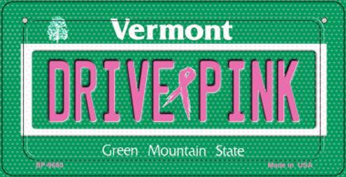 Drive Pink Vermont Novelty Metal Bicycle Plate BP-9680