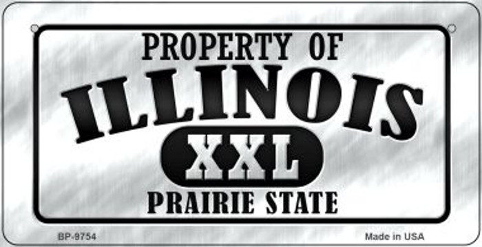 Property Of Illinois Novelty Metal Bicycle Plate BP-9754