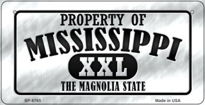 Property Of Mississippi Novelty Metal Bicycle Plate BP-965