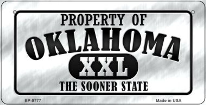 Property Of Oklahoma Novelty Metal Bicycle Plate BP-9777
