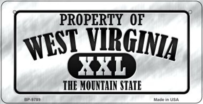 Property Of West Virginia Novelty Metal Bicycle Plate BP-9789