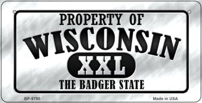 Property Of Wisconsin Novelty Metal Bicycle Plate BP-9790