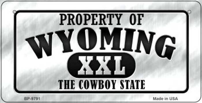 Property Of Wyoming Novelty Metal Bicycle Plate BP-9791