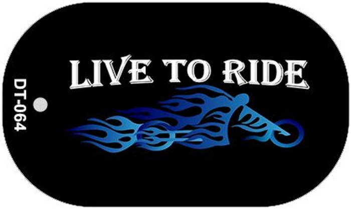 Live to Ride Novelty Metal Dog Tag Necklace DT-064