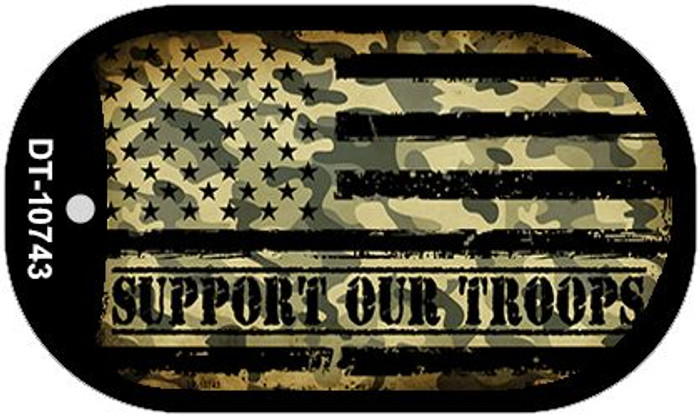 Camo American Flag Support Troops Novelty Metal Dog Tag Necklace DT-10743
