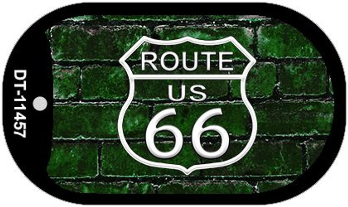 Route 66 Green Brick Wall Novelty Metal Dog Tag Necklace DT-11457