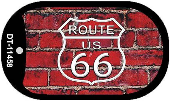 Route 66 Red Brick Wall Novelty Metal Dog Tag Necklace DT-11458