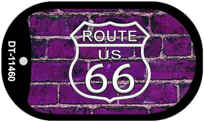 Route 66 Purple Brick Wall Novelty Metal Dog Tag Necklace DT-11460