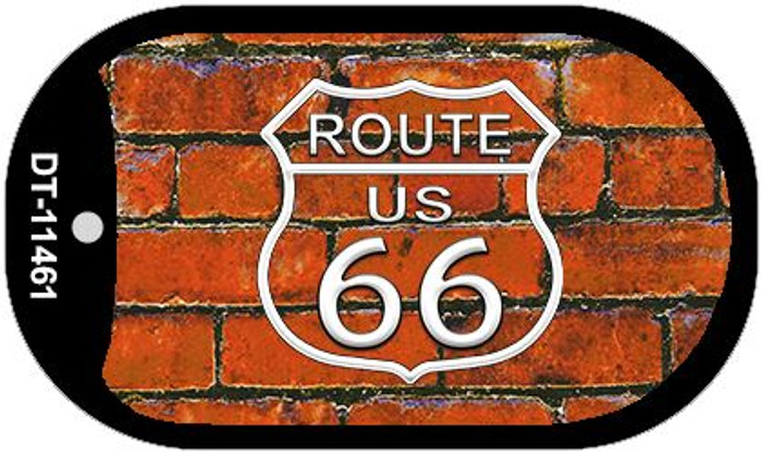Route 66 Orange Brick Wall Novelty Metal Dog Tag Necklace DT-11461
