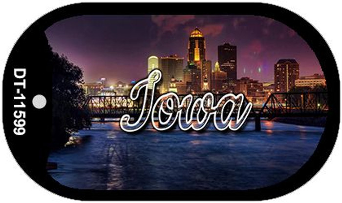 Iowa Bridge City Lights Novelty Metal Dog Tag Necklace DT-11599
