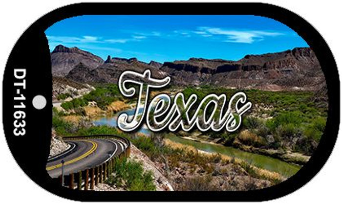 Texas Open Mountain Road Novelty Metal Dog Tag Necklace DT-11633