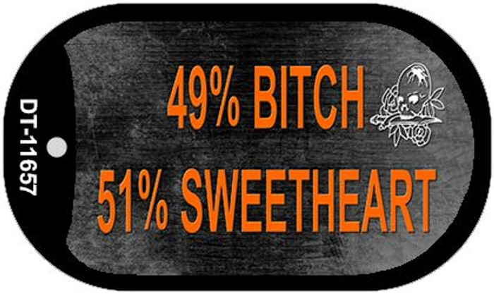 49% Bitch 51% Sweet Novelty Metal Dog Tag Necklace DT-11657
