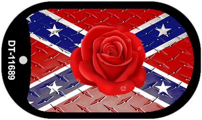 Confederate Flag With Red Rose Novelty Metal Dog Tag Necklace DT-11689