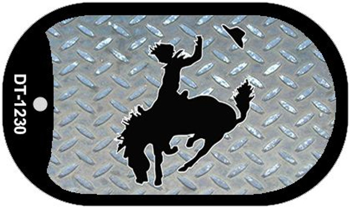 Bucking Bronco Diamond Novelty Metal Dog Tag Necklace DT-1230