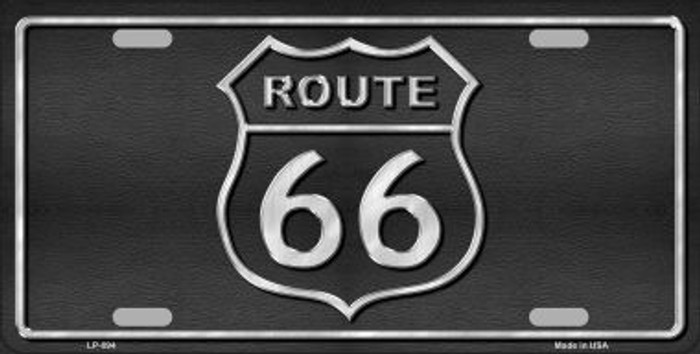 Route 66 Shield Black Metal Novelty License Plate
