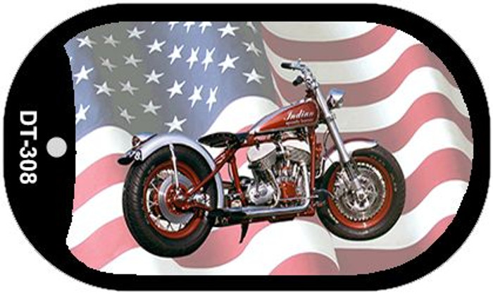 Indian Motorcycle American Flag Novelty Metal Dog Tag Necklace DT-308