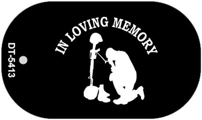 In Loving Memory Kneeling  Novelty Metal Dog Tag Necklace DT-5413