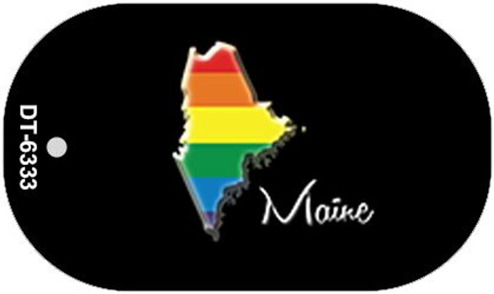 Maine Rainbow State Novelty Metal Dog Tag Necklace DT-6333