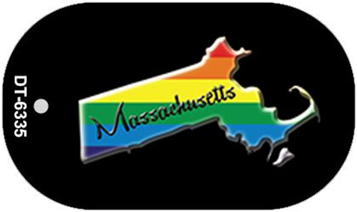 Massachusetts Rainbow State Novelty Metal Dog Tag Necklace DT-6335