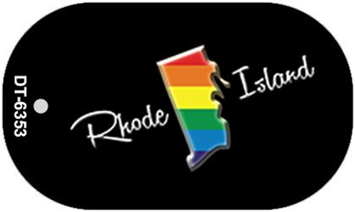 Rhode Island Rainbow State Novelty Metal Dog Tag Necklace DT-6353