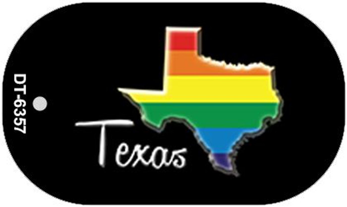 Texas Rainbow State Novelty Metal Dog Tag Necklace DT-6357