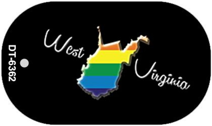 West Virginia Rainbow State Novelty Metal Dog Tag Necklace DT-6362