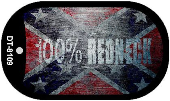100% Redneck Confederate  Novelty Metal Dog Tag Necklace DT-8109