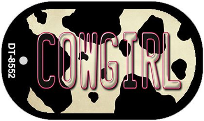 Cowgirl Cow Print Novelty Metal Dog Tag Necklace DT-8552
