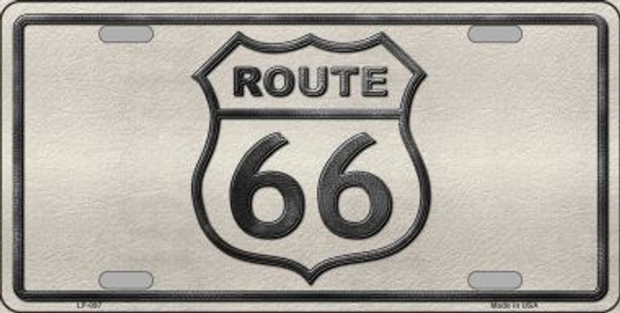 Route 66 Shield White Novelty Metal License Plate