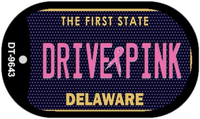 Drive Pink Delaware Novelty Metal Dog Tag Necklace DT-9643