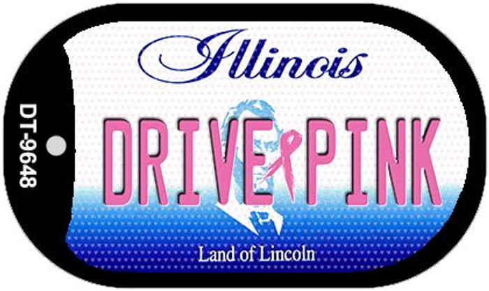 Drive Pink Illinois Novelty Metal Dog Tag Necklace DT-9648