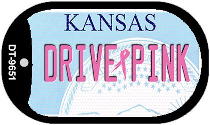 Drive Pink Kansas Novelty Metal Dog Tag Necklace DT-9651
