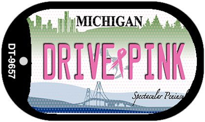 Drive Pink Michigan Novelty Metal Dog Tag Necklace DT-9657
