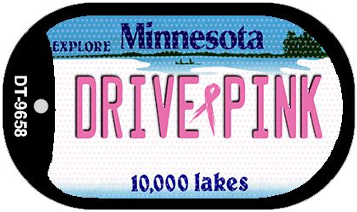Drive Pink Minnesota Novelty Metal Dog Tag Necklace DT-9658