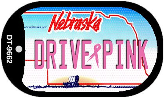 Drive Pink Nebraska Novelty Metal Dog Tag Necklace DT-9662