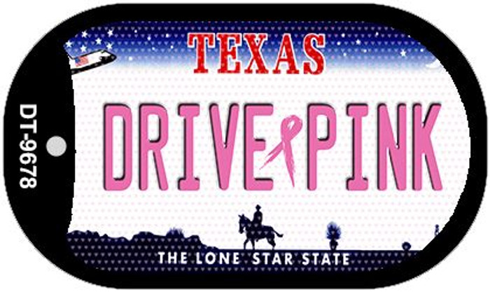Drive Pink Texas Novelty Metal Dog Tag Necklace DT-9678