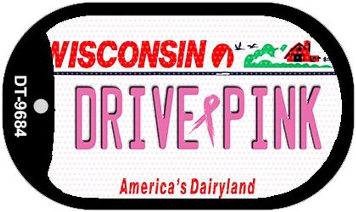 Drive Pink Wisconsin Novelty Metal Dog Tag Necklace DT-9684