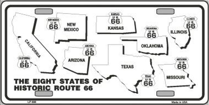 Route 66 Historic States Novelty Metal License Plate