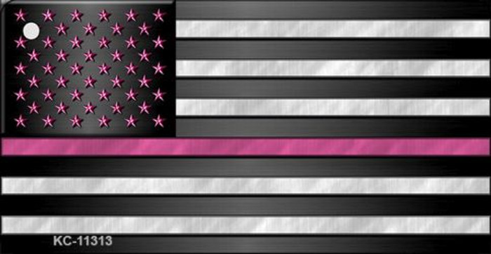 Thin Pink Line With Pink Stars Novelty Metal Key Chain KC-11313