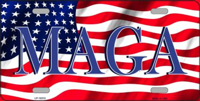 MAGA Flag Novelty Metal License Plate LP-12212