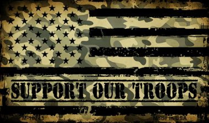 Camo American Flag Support Troops Novelty Metal Magnet M-10743