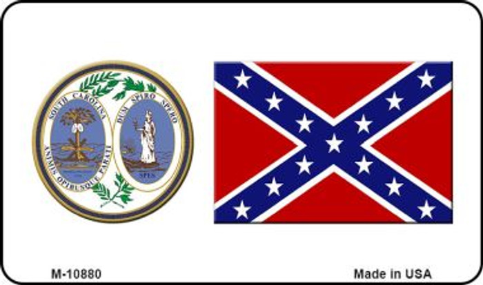 Confederate Flag South Carolina Seal Novelty Metal Magnet M-10880