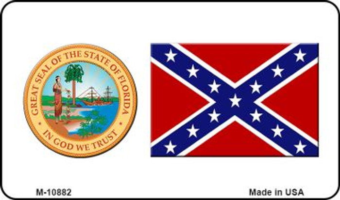 Confederate Flag Florida Seal Novelty Metal Magnet M-10882