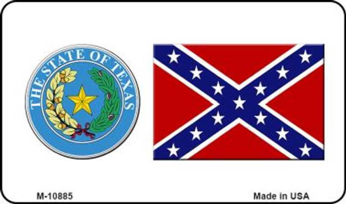 Confederate Flag Texas Seal Novelty Metal Magnet M-10885