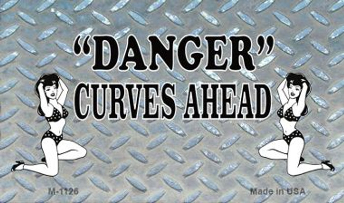 Danger Curves Ahead Novelty Metal Magnet M-1126