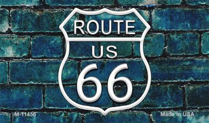 Route 66 Blue Brick Wall Novelty Metal Magnet M-11456