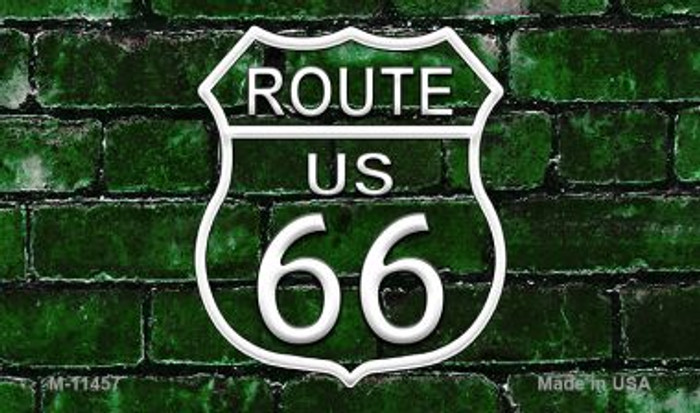 Route 66 Green Brick Wall Novelty Metal Magnet M-11457