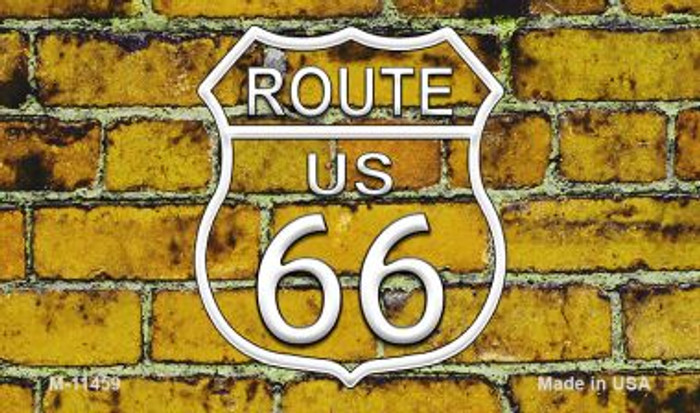 Route 66 Yellow Brick Wall Novelty Metal Magnet M-11459