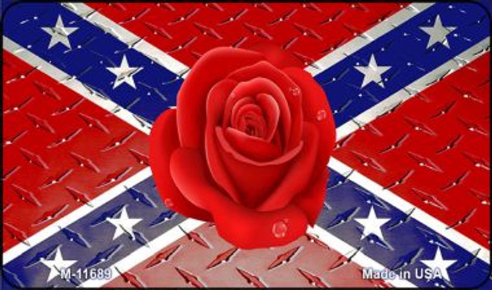 Confederate Flag With Red Rose Novelty Metal Magnet M-11689